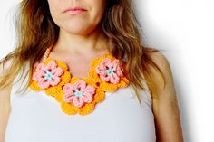 how to make a pretty funky flower necklace