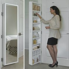 Cabidor® Classic Deluxe Behind Door Storage Cabinet with Full Length Mirror for extra storage Kitchen Cabinet Drawers, Kitchen Storage, Storage Spaces, Kitchen Pantry, Tall Bathroom Storage Cabinet, Clever Bathroom Storage, Small Space Storage, Toilet Storage, Cabinet Space