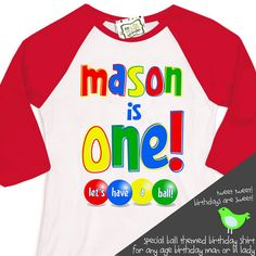 First birthday ball primary color theme birthday party let's have a ball RAGLAN shirt 1st Birthday Shirts, Boy First Birthday, Birthday Bash, Ball Birthday Parties, Birthday Party Decorations, Second Birthday Ideas, Personalized Birthday Gifts, Colorful Party, First Birthdays