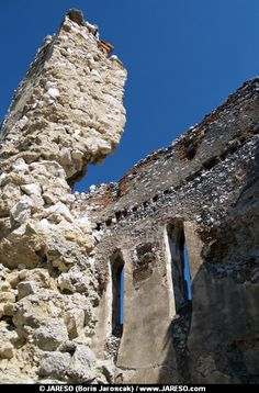 Summer view portraying ruined interior of Donjon, fortified refuge tower of Cachtice castle situated in the mountains above the Cachtice village, Trencin region, Slovakia. This is the authentic place that was residence and later became the prison for the world famous Countess Elizabeth Bathory (Báthory Erzsébet, Alžbeta Bátoriová).