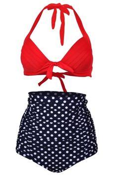 AdoreWe - oasap Color Block Polka Dot Print Two Piece Swimsuit - AdoreWe.com