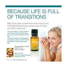 Just for you -changes women's health blend, see more recipes at: http://www.naturalhealthstore.us/authentic-essential-oils-recipes-natures-sunshine/