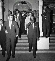 JOHN F. KENNEDY and PRESIDENT SEKOU TOURE OF GUINEA visiting DISNEYLAND