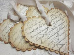 Items similar to Vintage Shabby Chic Tags - French Script Scalloped Heart Tags - Vintage Appearance - set of 5 on Etsy Vintage Tags, Shabby Vintage, Vintage Heart, Vintage Paper, Vintage Music, Etsy Vintage, Vintage Decor, French Vintage, Valentine Day Cards