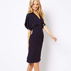 ASOS navy blue kimono style wrap dress! Sz 6! Figure-flattering ASOS midi-length kimono style wrap dress. Comes with sash belt but can be removed. Size 6. Perfect condition. Only worn once to a wedding and got TONS of compliments on this dress!  ASOS Dresses Midi
