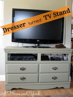 Repurposed dresser tv stand a house and yard old dresser chalk paint stand repurpose old dresser . Tv Furniture, Recycled Furniture, Furniture Makeover, Painted Furniture, Furniture Ideas, Refinished Furniture, Dresser Tv Stand, Dresser With Tv, Malm Dresser