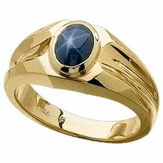 100% pure gold jewels for men | ... Yellow Gold Created Blue Star Sapphire Men's Ring | Jewelry Days.com