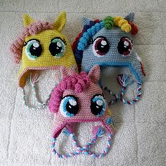 Crochet My Little Pony Pinkie Pie Rainbow Dash Shutterfly Twilight Sparkle Princess Celestia Earflap Hat Baby Toddler, Child, Teen or Adult Crochet Pony, Crochet Kids Hats, Crochet Beanie, Cute Crochet, Crochet Crafts, Yarn Crafts, Crochet Projects, Knit Crochet, Rainbow Dash