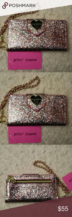 Betsy Johnson NWT Pink Sparkled Celly Wristlet NWT Betsy Johnson Pink and Gold Sparkled Cell Phone Wristlet,  with credit card slots and a cell phone pocket,  zipper pocket outside,  Snap closure Betsy Johnson  Bags Clutches & Wristlets