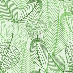 """Baixe o vetor royalty free """"Green leaves seamless pattern background"""" desenhado por Seamartini Graphics com o menor preço no Fotolia.com. Navegue no nosso banco de imagens online barato e encontre vetores stock perfeitos para seus projetos de marketing!"""