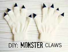 Need a quick kids Halloween costume? We've got you covered, busy mom! Check out simple Monster Claws made out of white gloves and felt.