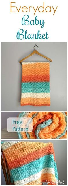 Free pattern by Croyden Crochet. Crochet this fast and easy Everyday Baby Blanket using Lion Brand Cupcake yarn. This blanket makes for a perfect baby shower gift! Easy Knitting Patterns, Afghan Patterns, Crochet Blanket Patterns, Baby Blanket Crochet, Knitting Ideas, Knitting Yarn, Baby Knitting, Crochet Baby, Crochet Crafts
