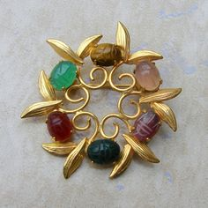 12K Gold Filled Scarab Stone Wreath Vintage Pin by Charmcrazey