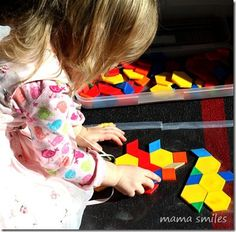 Giant Pattern Block Scenes: Contact paper is a wonderful stabilizer so kids can create giant pattern block scenes without getting frustrated by pieces being moved around.