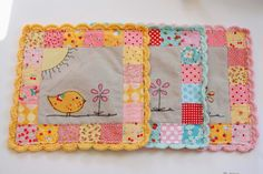 Why Not Sew?: Birdie Patchwork Pillows with Crocheted Scallop Edge