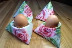 Eier-Sitzsäcke aus Wachstuchresten / Egg bean bags made with scraps of waxed cotton / Upcycling