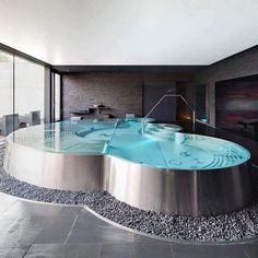 Giant jacuzzi bath tub perfect to come home to.
