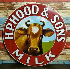 Rare H.P. Hood & Sons Milk Porcelain Sign