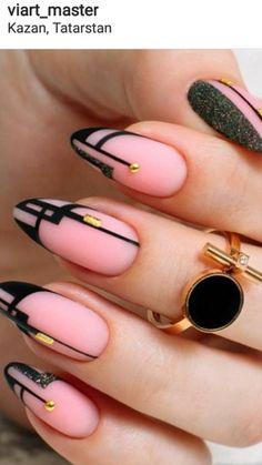Pink and black lined nail art. 💟💟💟 - Pink and black lined nail art. Nail Art Hacks, French Nails, Cute Nails, Pretty Nails, Line Nail Art, Gel Nagel Design, Fall Nail Art Designs, New Nail Art Design, Geometric Nail Art