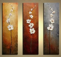 Hand Painted Flowers Dancing Petals Modern Canvas Knife Painting Floral Oil Painting Wall Art Pictures For Living Room 3 Pieces - Trends 2019 Painting Acrylic Acrylic Flowers, Oil Painting Flowers, Texture Painting, Oil Painting On Canvas, Diy Painting, Knife Painting, Painted Flowers, Flower Paintings, Painting Abstract
