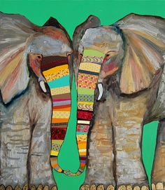 Eli Halpin Oil Paintings - Elephant Kiss