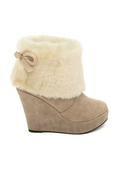 Bowknot Embellished Ankle Boots with Fur Upper $64.00