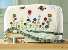 ~ Flower Button Sewing Machine Storage Cover ~