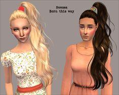 Sims LJ - Dump of CC: recolors of 15 Newsea hairs, eyebrows and paitings