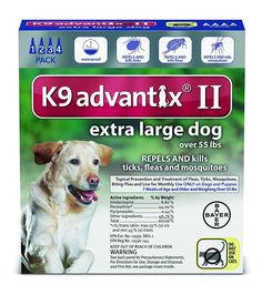 K9 Advantix II Dogs Over 55 lbs 4 Pack (4 Month Supply) => You can get additional details, click the image : Flea and Tick Control