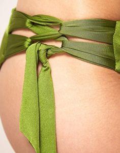 Image 3 ofSeafolly Limited Edition Hi-Gloss Lace Up Bandeau Bikini Set