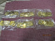 Set of 6 Vintage New Old Stock NOS Brass Drawer Handles Pulls Original Package Ornate Furniture Accent by EvenTheKitchenSinkOH on Etsy