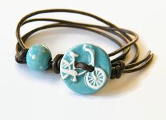 I Want to Ride My Bicycle Bracelet  Leather by SallyThakeJewellery
