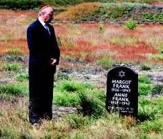 Interview with Anne Frank's first cousin, Bernhard Elias.  Picture pf Buddy Elias at the Grave of Anne & Margot Frank