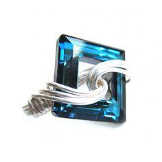 silver swirl swarovski cosmic square ring- bermuda blue