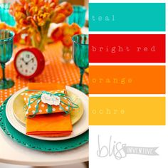 bliss-inventive-palette-teal-orange-red love new kitchen colors Red And Teal, Teal Orange, Blue Yellow, Yellow Accents, Br House, Kitchen Colour Schemes, Bathroom Colors, Bathroom Ideas, Bathroom Yellow