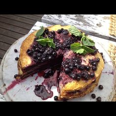 I'm in the countryside outside of Oslo, #Norway right now.  I just had a slice of this Blueberry Pancake Cake.. the berries are still singing in my mouth. Summer doesn't get any better than this! <3