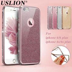 Galvanoplastia patrón de diamante de imitación de lujo cajas del teléfono suave para iphone 6 6 s 6 más 6 s plus con glitter trasera protectora shell