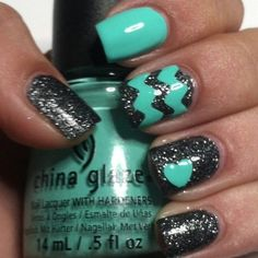 Aqua, Black Sparkle Nails
