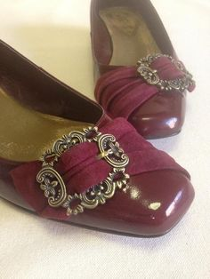 Franco Sarto,Panache, Burgundy Patent Leather with Suede Buckle Detail Dress Flats $20.00