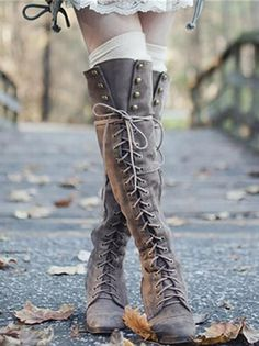 Low Heel Boots, Thigh High Boots, Low Heels, Heeled Boots, Shoe Boots, Knee High Flat Boots, Over The Knee Boot Outfit, Gothic Shoes, Heel Pumps