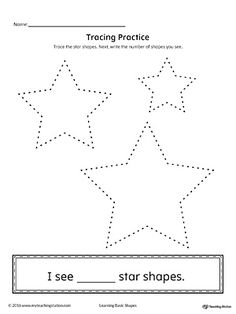 Geometric Shape Counting and Tracing: Star Worksheet.Practice counting and tracing the geometric shape star in this printable worksheet.