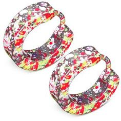 8de42aa99 Multi colour splatter style huggie hoop earrings for men. Made from stainless  steel with a hinged design for better fitting.