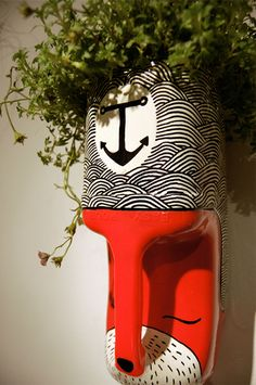 Milk carton/tribal mask home planter! These are so cool.
