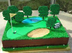 Golf Birthday Cakes, 90th Birthday Parties, Homemade Birthday Cakes, Themed Wedding Cakes, Themed Cupcakes, Golf Course Cake, Reds Bbq, Golf Wedding, Bbq Apron