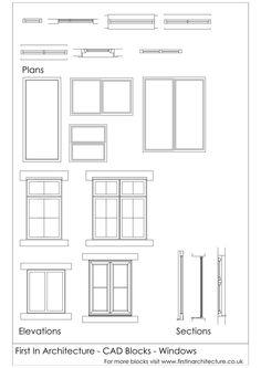 A selection of window cad blocks - windows in plan, windows in elevation and windows in section