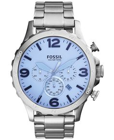 Fossil Men's Chronograph Nate Stainless Steel Bracelet Watch 50mm jr1509