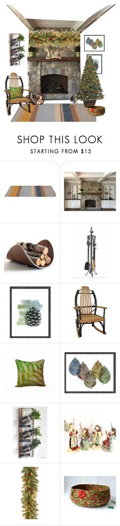 """Home for the Holidays"" by whimzingers ❤ liked on Polyvore featuring interior, interiors, interior design, home, home decor, interior decorating and National Tree Company"