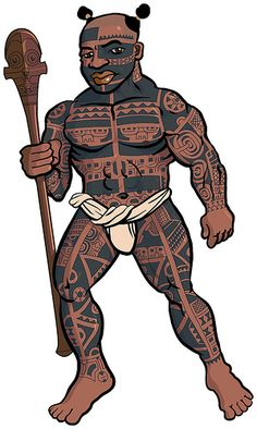 Another in the Na Toa warriors of Polynesia series, this one from Nukuhiva, Marquesas, with the very distinctive full body tattoos, double topknot hair style and classic Marquesan war club. a collaborative piece by Michael Lothiam and Sam ʻOhu Gon