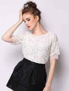White Short Sleeve Lace Crop Blouse 20.67