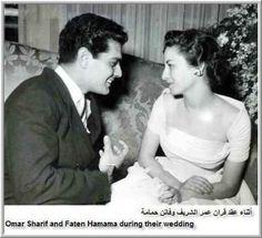 Omar Sharif and Faten Hamama during their wedding